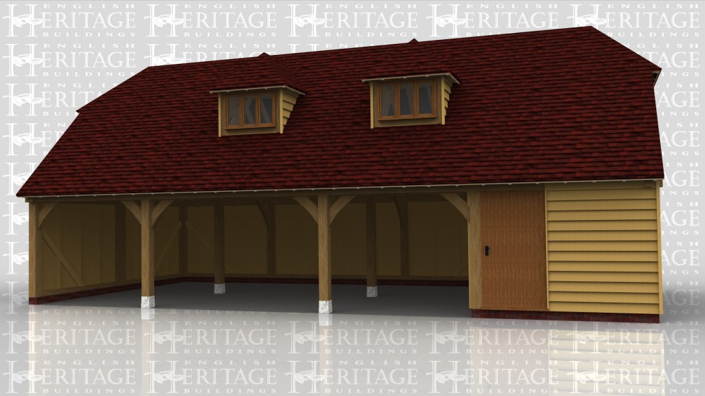 An 8 bay oak framed garage with 4 bays on the ground floor and 4 bays on the first floor. On the ground floor there are 3 bays left open at the front while the fourth has a solid sinlge door at the front, in the enclosed bay is an internal oak staircase allowing acess to the first floor, on which there are 2 dormers each containing a 3 light window