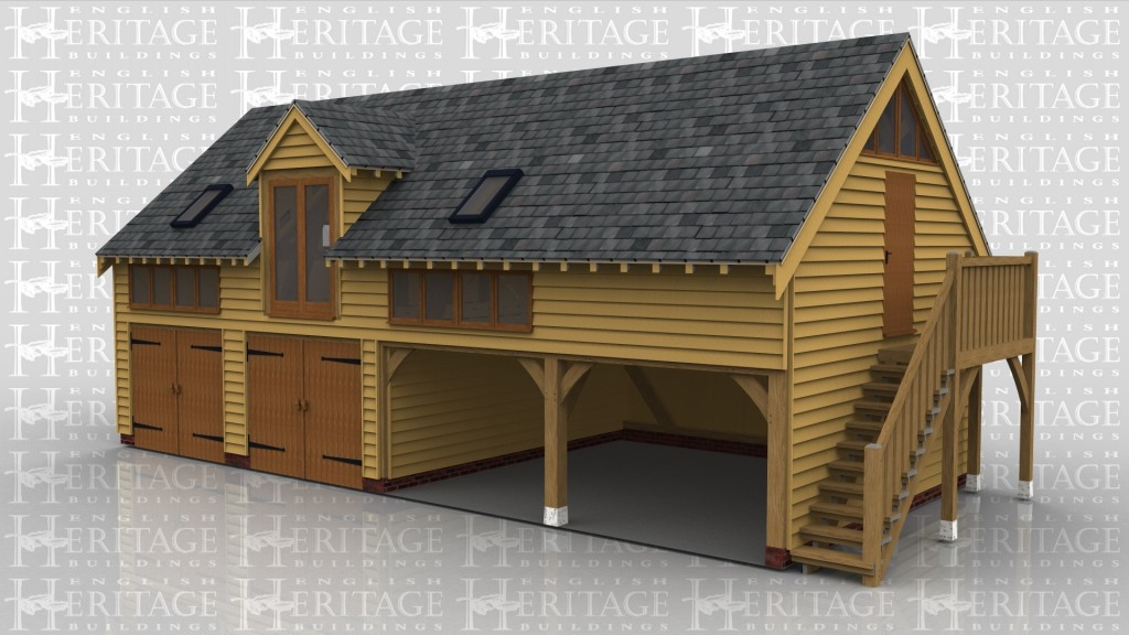 A 4 bay oak frame sling brace garage with leisure building on the first floor. On the ground floor 2 of the bays are enclosed with a pair of iroko garage doors while the other 2 bays are left open at the front. On the right hand side there is an external oak staircase allowing access to the first floor. On the first floor the there is a section of full height glazing below a barn entrance as well as 2 rooflights and 2 sections of glazing allowing plenty of light into the frame.