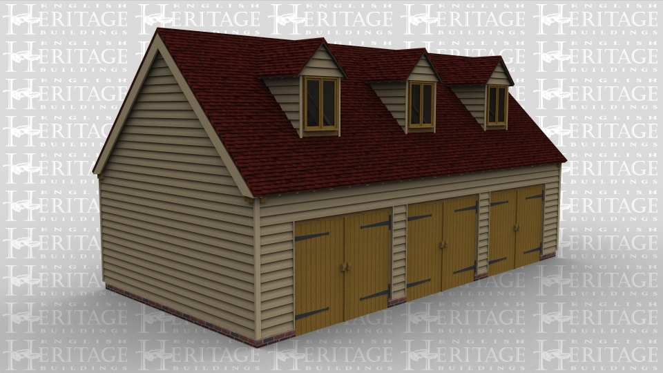 A oak framed garage with 3 bays on the ground floor and a further 3 bays on the first floor. On the first floor, each of the 3 bays is enclosed with a pair of iroko garage doors and at the read, there is a solid single door. On the first floor there is a 2 light dormer window at the front of each bay  to allow plenty of light into the upper floor.
