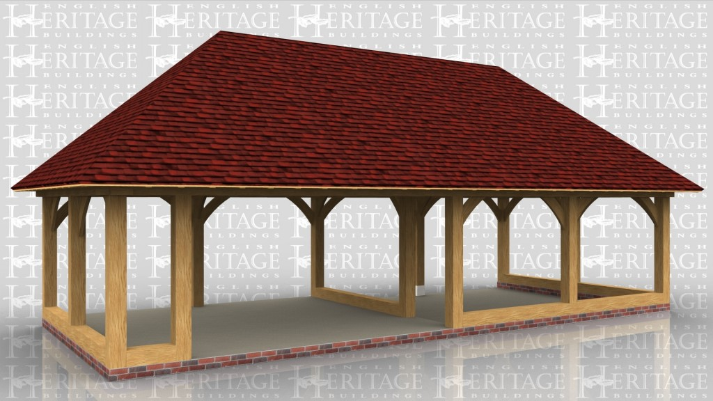 A 4 bay oak framed building open on all sides with a full hip roof either end.