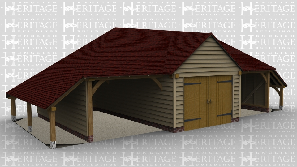 A 3 bay oak framed garage with the left and right bay open at ther front while the middle bay is a pair of iroko garage doors housed below a barn entrance and there is an external aisle on both the left and right side of the building.