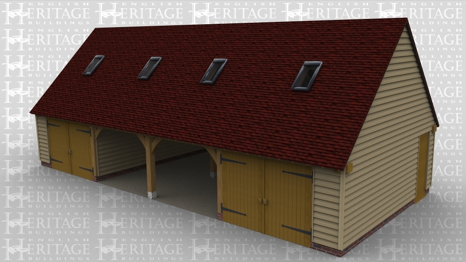 A 4 bay oak framed garage with an upper floor. On the ground floor there is a solid single door on the left and right wall of the building. At the front the left and right bay are both enclosed with a pair of iroko garage doors while the 2 middle bays are open at the front. On the first floor there is a rooflight at the front of each bay to allow plenty of natural light into the frame.