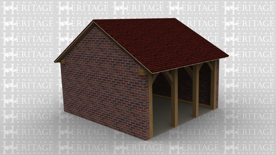 A single bay oak framed building with a gable roof on wither end and the left rear and right wall are all solid brick walls with the front open.