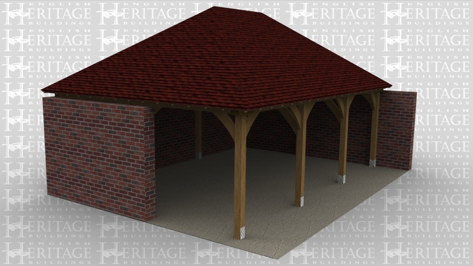 A 3 bay oak framed building with the left right and rear wall being solid brick walls while the front is left open.