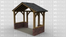 A single bay oak framed building open at the rear to allow it to attach to an existing building and a smaller opening at the front, this building has a slate roof and an 8 course brick plinth.