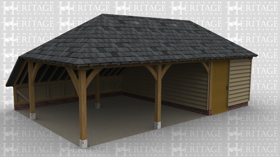 A 3 bay oak framed garage with the left hand wall open while the rear houses an internal aisle . At the front 2 of the bays are left open while the right hand bay is enclosed with a solid single door at the front. The right wall also has a solid single door.