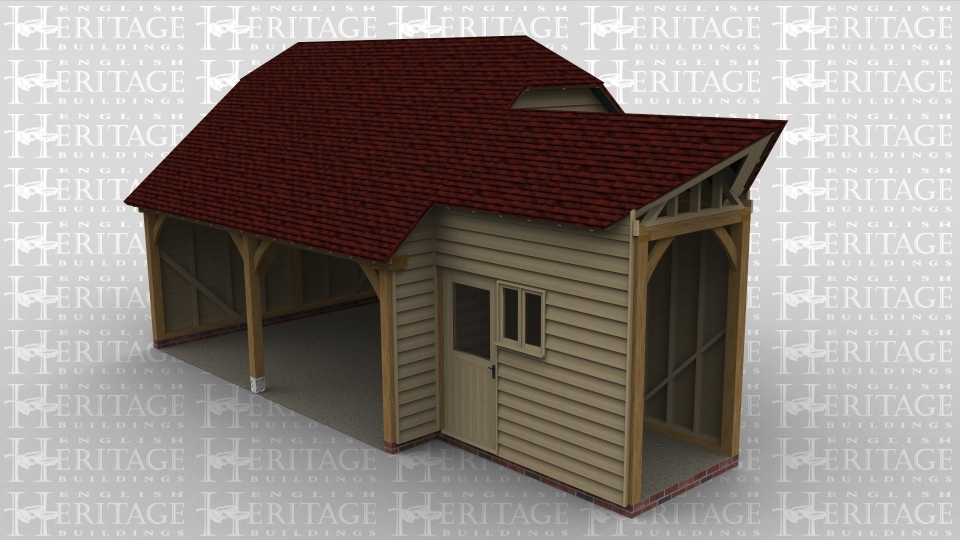 A 3 bay oak framed garage made up of 2 frames. The first frame is 2 bays in size and is the garage area with both bays left open at the front  with a barn hip style roof either end and on the right wall is a softwood solid single door connecting to the other frame. The second frame is a link building between the garage and an existing building with a softwood solid single door at the front and a 2 light window .