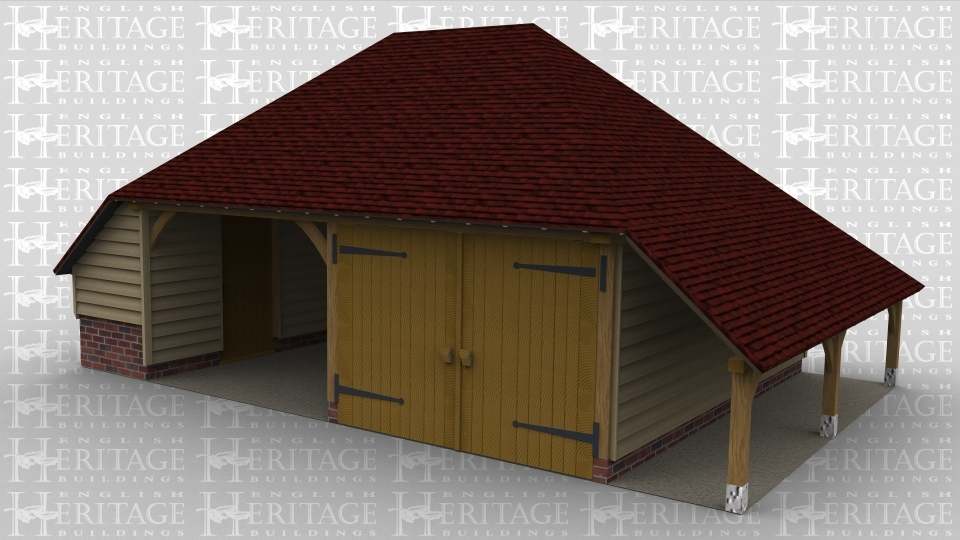 A 2 bay oak framed garage with an internal aisle on both the left and rear of the building and an external aisle on the right. there is a solid single door between the left aisle and the main frame. There is a partition between the two bays, the left bay is open at the front while the right hand bay is enclosed with a pair of iroko garage doors .
