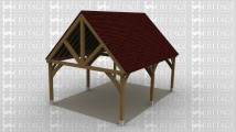 A 2 bay oak framed building open on all sides with a gable roof both ends.