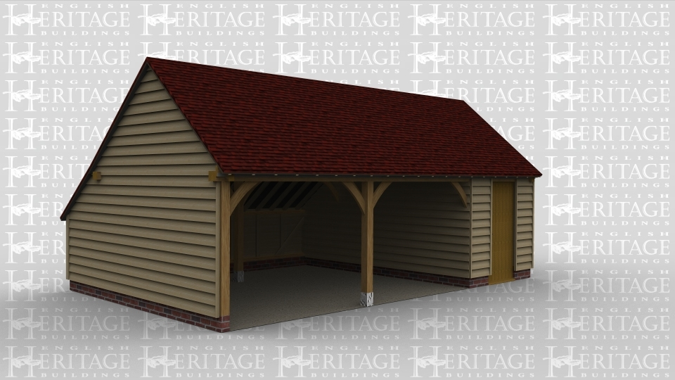 A 3 bay oak framed garage with 2 bays left open at the front while the third is enclosed with a solid single door at the front and a window with 4 panes on the right to allow plenty of natural light into the building. This frame has a gable roof either end and an internal aisle at the rear.