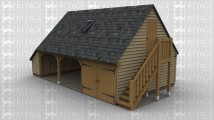 A 3 bay oak framed garage with an upper floor accessed via the external stair case. On the ground floor there is an external aisle to the left while at the front there are 2 bays open at the front and the third bay is enclosed with a pair of iroko garage doors. On the first floor there is a solid single door on the right and on the left is a glazed gable made up of 6 panes to allow plenty of natural light in. At the rear of the building are 2 rooflights as well as there being one at the front.