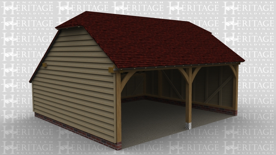 A 2 bay oak framed garage with a barn hip roof on the left and right, there is an internal aisle at the rear and both bays are open at the front.
