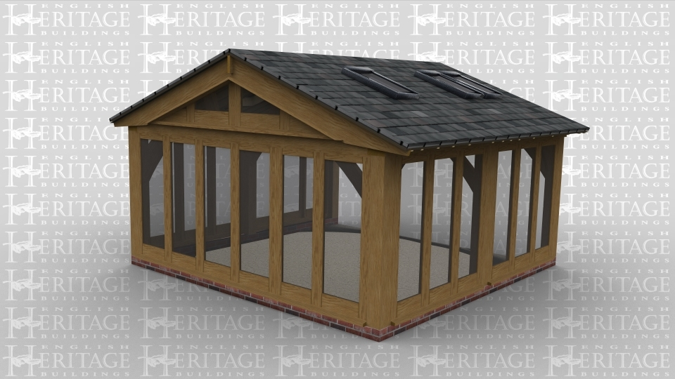 A 2 bay oak framed garden room with oak glazing all along the left rear and front wall to allow plenty of natural lighting as well as the glazed gable end and the 6 rooflights above while the right side is left open to allow it to attach to an existing building
