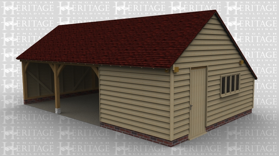 A 3 bay oak framed garage with 2 of the bays left open at the front with the third bay enclosed with a solid single door on the right  and a 4 light window, this building has a gable roof on the left and right with an internal aisle at the rear.