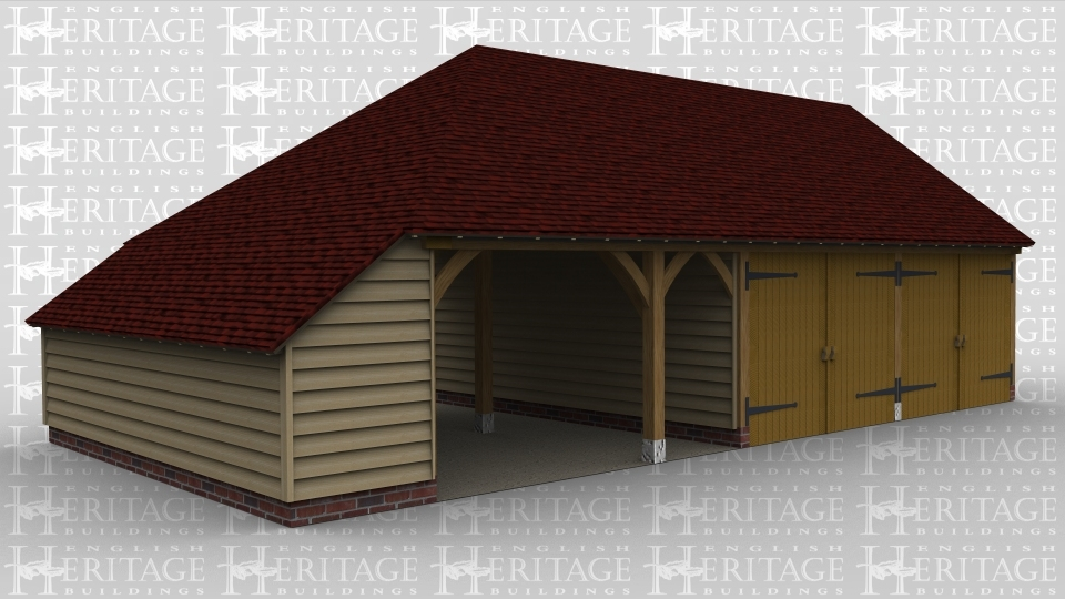 A 3 bay oak framed garage with an internal aisle on the left hand side, the left hand bay is open at the front as well as an open walkway at the rear. The second and third bays are enclosed at the front with a pair of iroko garage doors while at the rear is a mullion window and a solid single door.