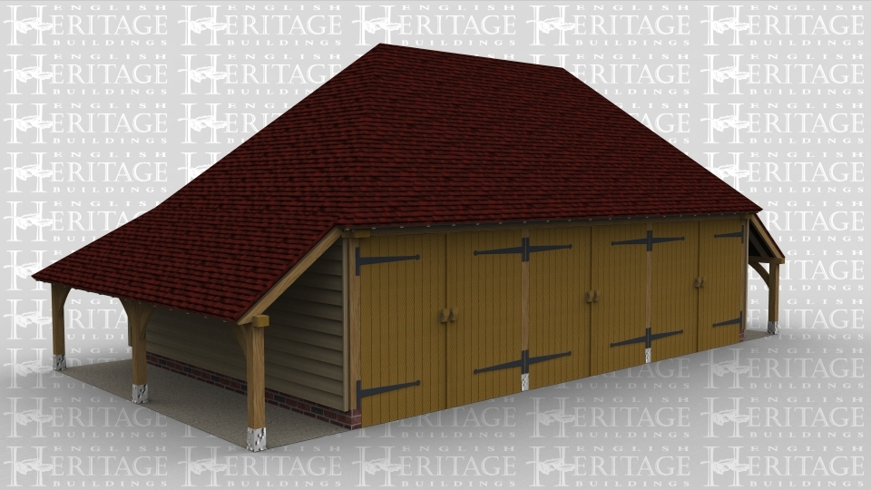 A 3 bay oak framed garage with an external aisle on both the left and right side and an internal aisle at the rear. At the front of the building each bay has a pair of iroko garage doors.