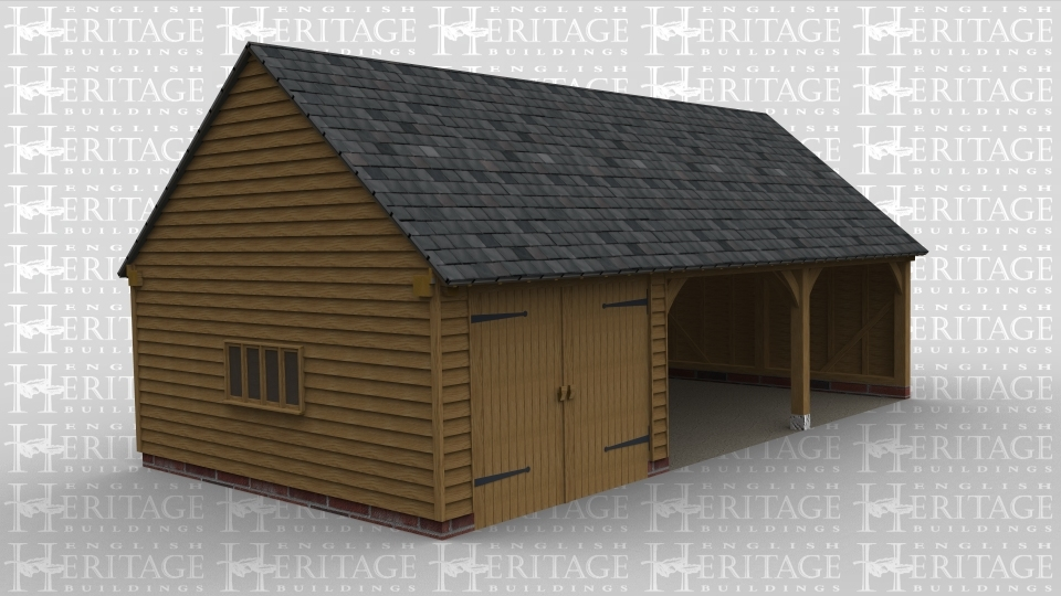 A 3 bay oak framed garage with a gable end of both sides. All the weatherbaording is oak as is the 4 light window on the left and the pair of garage doors at the front of the left hand bay while the other 2 bays are left open at athe front.