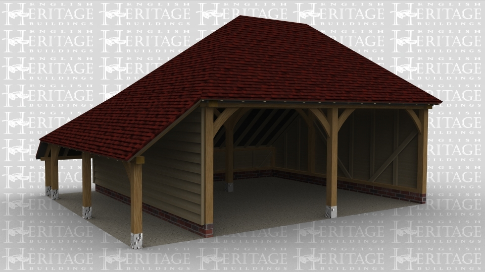 A 2 bay oak framed garage with both bays open at the front and an internal aisle at the rear as well as an external aisle on the left.