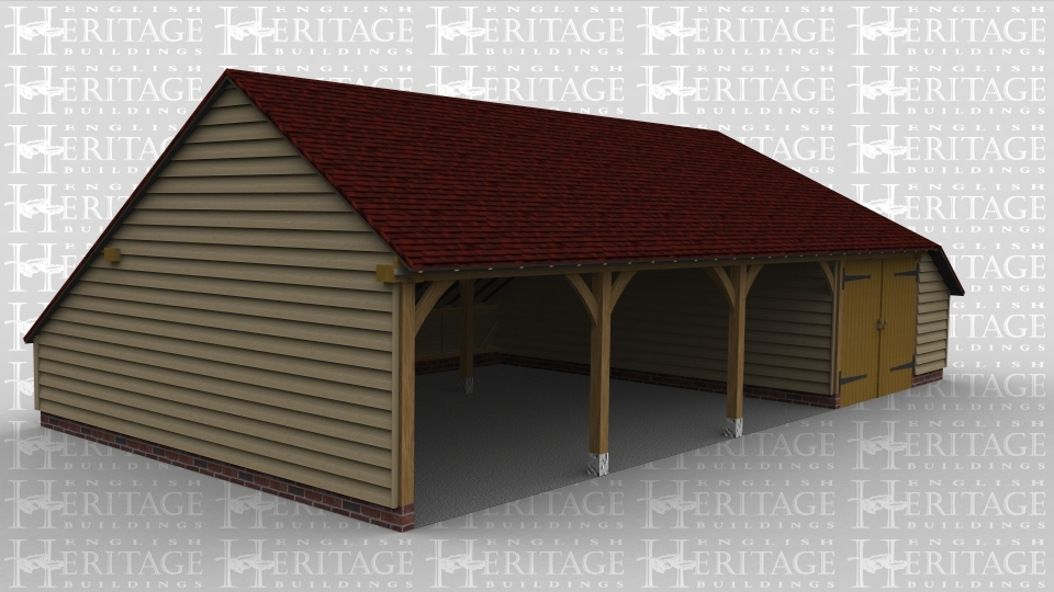 4 bay oak frame garage 3 open fronted bays iroko doors for Due bay garage