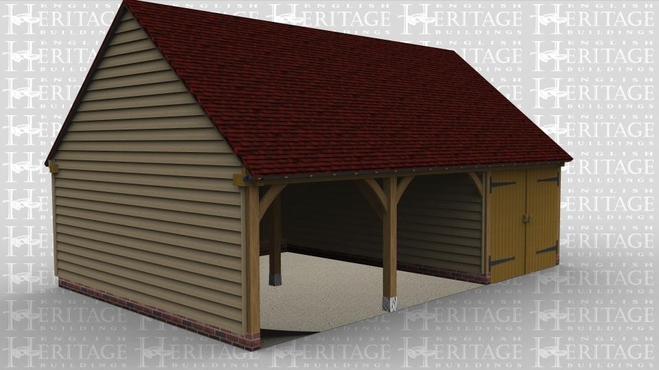 3 bay oak frame garage 2 open fronted bays iroko doors for Due bay garage