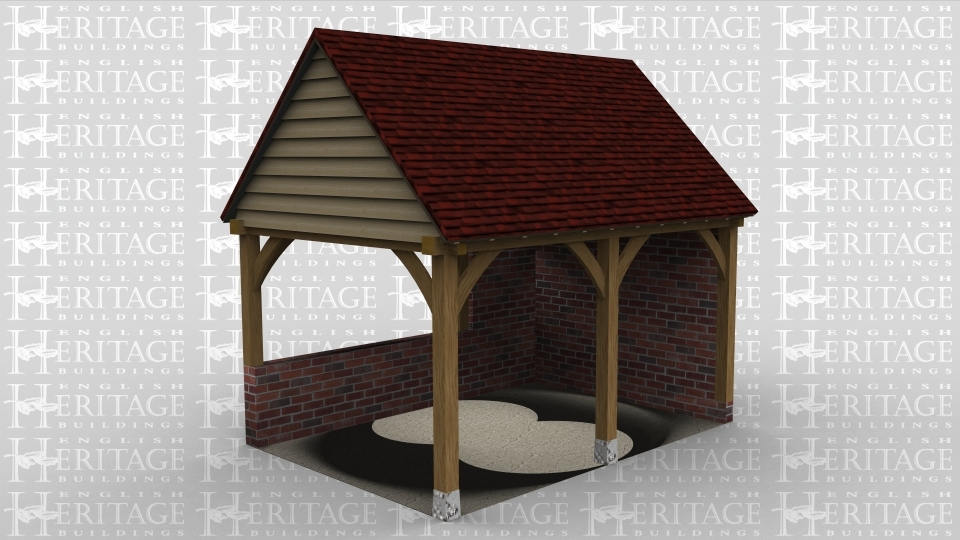 A 2 bay oak framed building with a gable ended roof no both the left and right with a full height solid brick wall on the right and a dwarf wall at the rear.