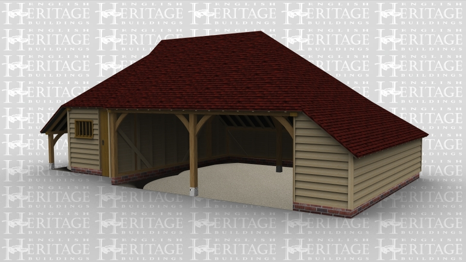 A 3 bay oak framed garage made up of 2 frames. The first frame is a single bay in size with an external aisle on the left and the rear while at the front there is a solid single door and a mullion window. The second frame is a 2 bay garage with both bays open at the front and an internal aisle on the right and at the rear.