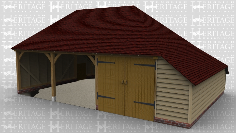 A 3 bay oak framed garage with a small door on the left wall while at the front 2 bays are left open and the other is enclosed within a pair of iroko garage doors. The building has an internal aisle on the right and at the rear.