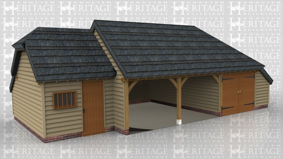 A 4 bay oak frame garage with a thatch roof made up of 2 frames. The first frame is a single bay in size with a solid sinlge door and a mullion window at the front, it also has a barn hip roof on the left and an internal aisle at the rear. The second frame is 3 bays in size with 2 bays left open at the front while the third is enclosed with a pair of iroko garage doors and has an aisle on the right and rear.