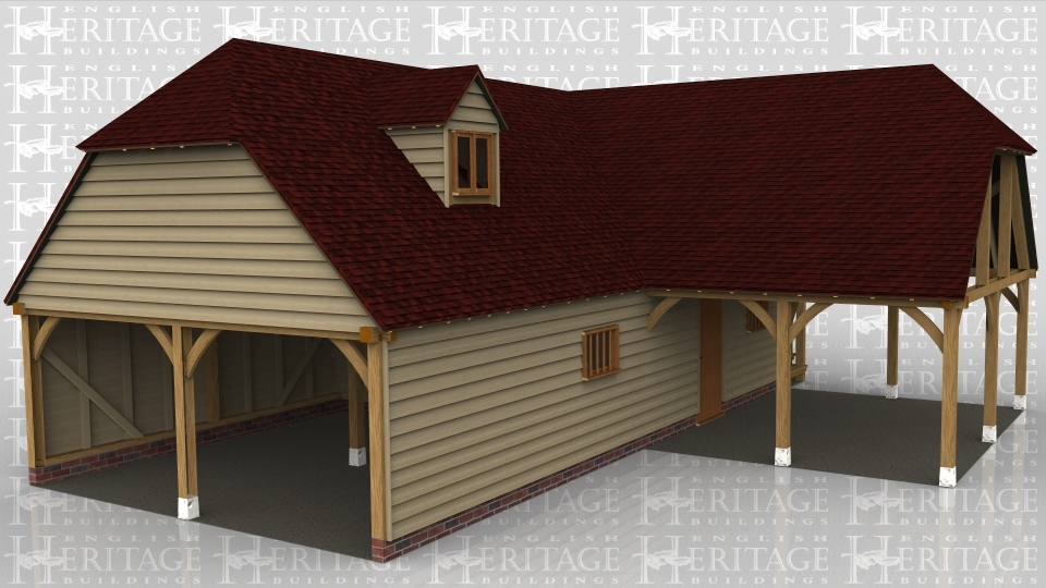 A 10 bay oak framed building made up of 2 frames. The first frame is 2 bays in size and is open on all sides with a barn hip roof on the left and connecting to the other frame on the right. The second frame is 8 bays in size, 4 bays on the ground floor and 4 bays on the first floor. The first floor is open on the left while at the front is a mullion window either side of a solid single door. On the right hand side there is a pair of iroko doors and an external oak staircase leading to the first floor. On the first floor there is a solid single door on the right  while at the front there is a dormer housing a 2 light window to allow the natural light into the first floor of the frame.