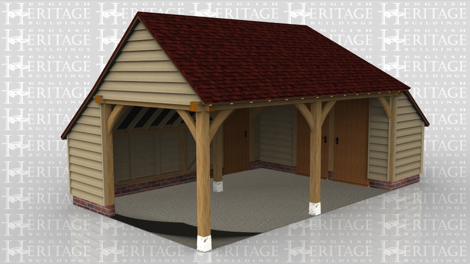 A 2 bay oak framed garage open at the front and left hand side with an internal aisle at the rear and right side. The aisle on the right is enclosed with an internal partition which contains 2 solid single iroko doors. At the rear of the building is a solid single door below a barn entrance.