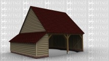A 2 bay oak framed garage open at the front with an internal aisle on the left.