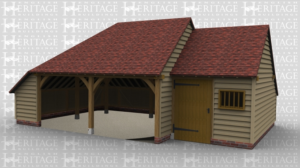 A 3 bay oak framed garage made up of 2 frames. The first frame is 2 bays in size with the front left open with an internal aisle on both the left and rear. The second frame is a single bay in size also with an internal aisle at the rear as well as a solid single dor and a mullion window at the front.