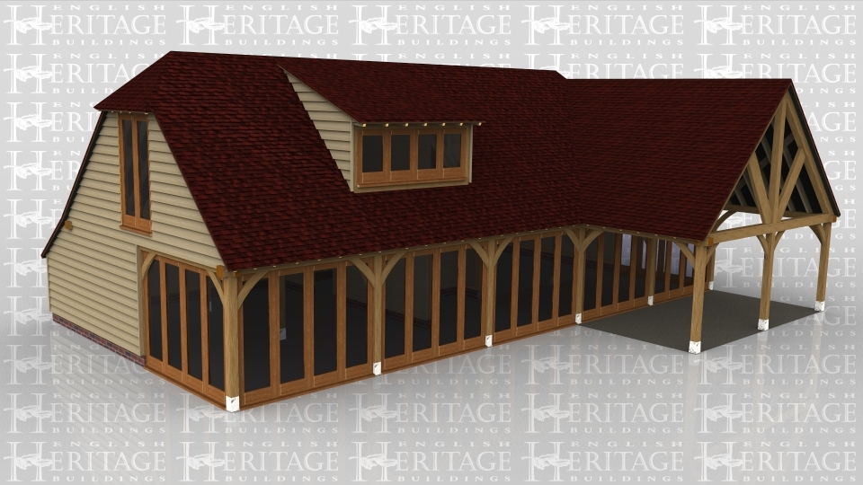 A 6 bay oak framed building made up of 2 frames. The first frame is 5 bays with upper floor. On the ground floor there is a 4 pane section of full height glazing on both the left and the right while at the front the entire wall is made up of full height glazing to allow masses of natural light into the building, the rear of the building has an internal aisle. The first floor has a julliet window on the left while at the front there is an eyebrow window made up of 4 panes. The second frame is a single bay in size and is open on all sides with a gable ended roof.