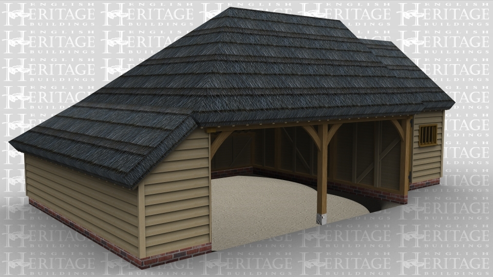 A 3 bay oak framed garage made up of 2 frames. The first frame is 2 bays in size with both bays open at the front and an internal aisle on the left and rear. The second frame is a single bay in size with an internal aisle at the rear with a solid single door and a mullion window at the front.