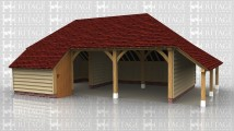 A 3 bay oak framed garage with an internal aisle at the front of the left hand bay with a solid single door in the right of the aisle. The other 2 bays are open at the front with an external aisle on the right and an internal aisle at the rear.On the left there is a barn hip roof and is open at the side.