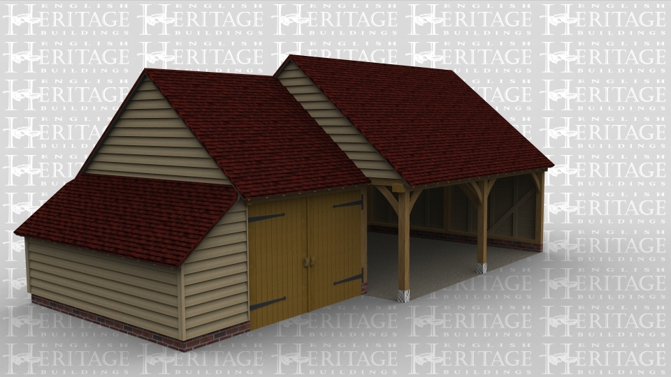 A 3 bay oak framed garage made up of 2 frames. The first frame is a sinlge bay in size with an internal aisle on the left and a pair of garage doors at the front and attaches on the right hand side to the other frame. The second frame accounts for the other 2 bays open at the front with  with the left wall partially open.