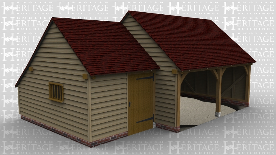 A 3 bay oak framed garage made up of 2 frames. The first frame is a single bay in size with an internal aisle at the rear while on the left is a single mullion window and at the front there is a solid single door. The second frame accounts for the other 2 bays, it is open at the front with an internal aisle at the rear.