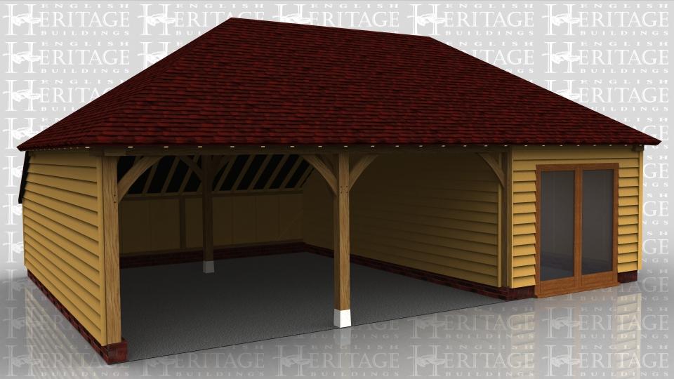 3 bay oak frame garage 2 open parking bays ws01071 for Due bay garage