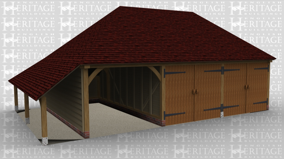 A 3 bay oak framed garage with 1 bay open at the front while the other two are enclosed with a pair of iroko garage doors at the front of each bay, there is also an external aisle on the left. and an internl aisle at the rear.