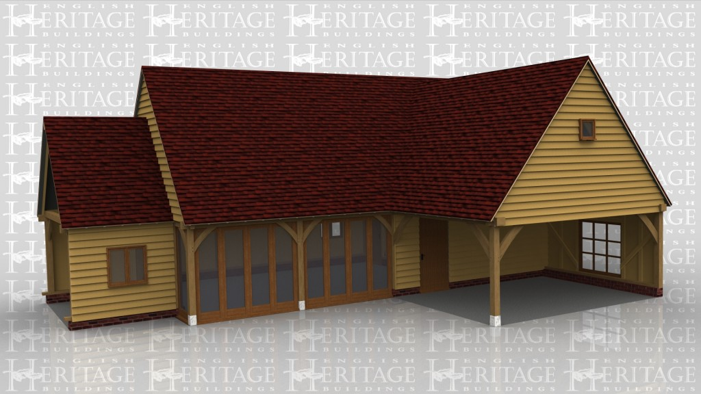 A 6 bay oak framed building made up of 3 frames. The first frame is a single bay in size and is a link building between an existing building and the other frames. It is open on the left and right with a 2 light window at the front. The second frame accounts for 4 bays with upper floor. On the ground floor there are 2 bays with the front wall made up entirely of full height glazing to allow plenty of natural light in and the other 2 bays boarded with softwood weatherboard and a solid single door, on the right side of the building is a 2 light window as well as one at the rear. The first floor has a single 2 light window on the right wall. The final frame is a single bay with the front and right side left open with a large window atthe rear.