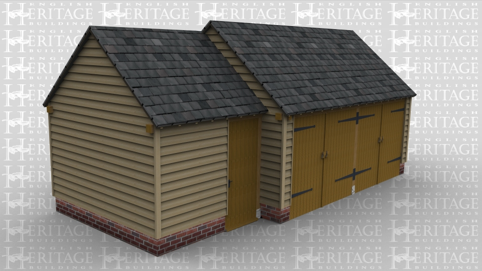 A 3 bay oak framed garage made up of 2 frames. The first frame is a single bay office/ store area with a solid single door at the front. The second frame is 2 bays in size and has a pair of iroko garage doors at the front of each bay and an internal aisle at the rear.