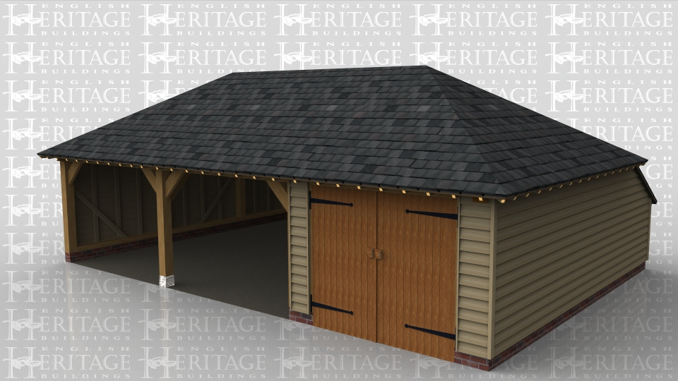 A 3 bay oak framed garage with a full hipped slate roof that has 2 bays open at the front while the third is enclosed with a pair of iroko garage doors, the left and right wall are weatherboarded while the rear has an internal aisle.