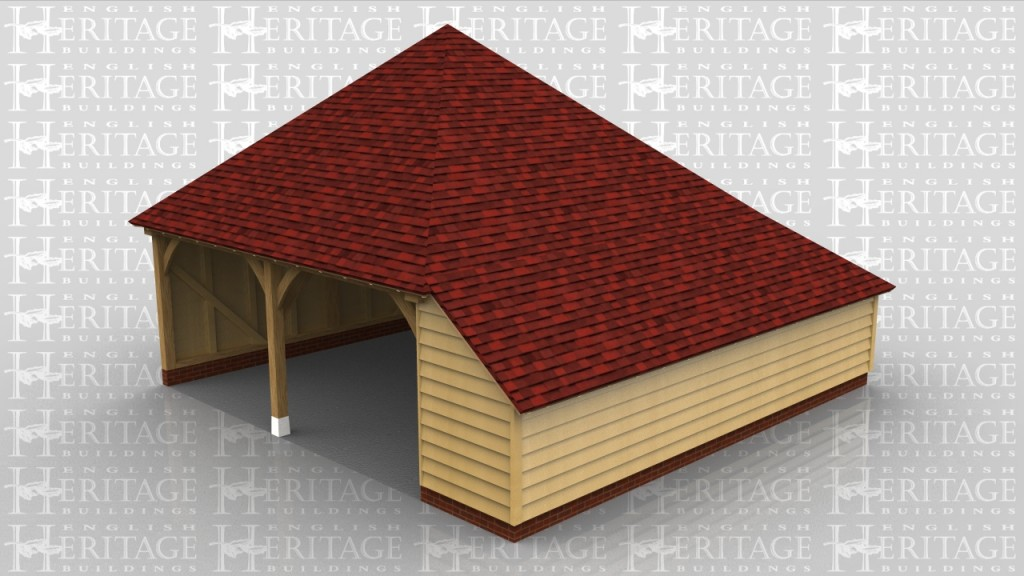 Two bay oak framed garage with hipped roof ends an aisle to the right and catslide roofs to the right and rear of the building.