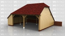 2 bay garage with catslide roofs to 2 sides the rear roof sitting on top of a brick retaining wall.