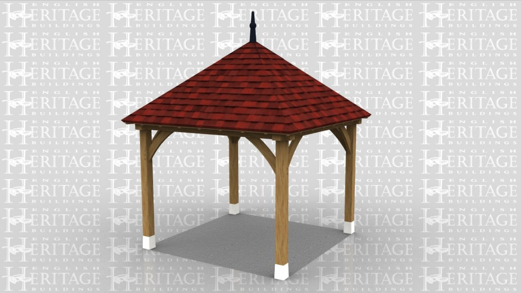 Square gazebo with clay tile roof and leaded finial.