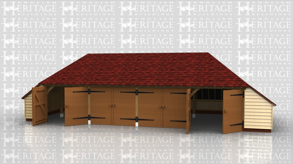 4 bay garage with catslides to 3 sides and 4 pairs of garage doors to keep the inside secure.