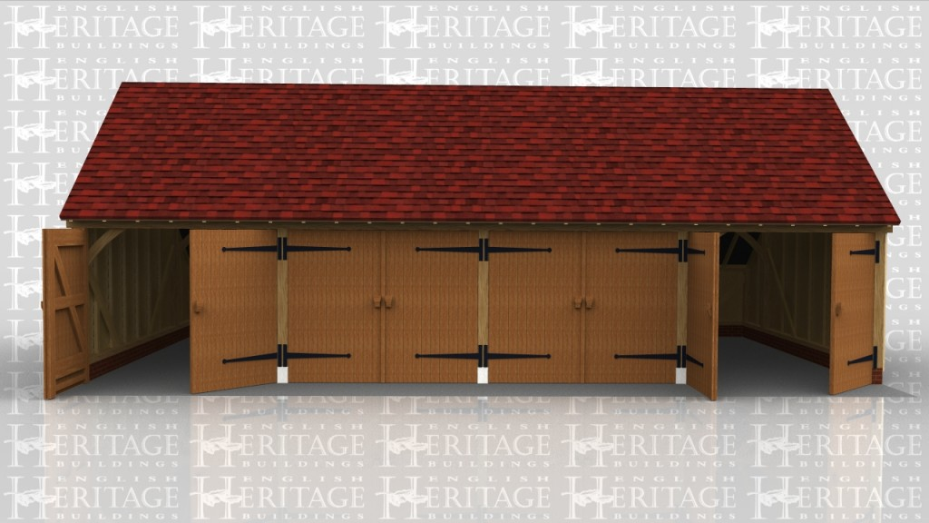 Four bay garage with rear catslide. All 4 bays have garage doors to keep the inside secure.