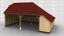 2 bay open garage with catslide roofs to the rear and right hand side.