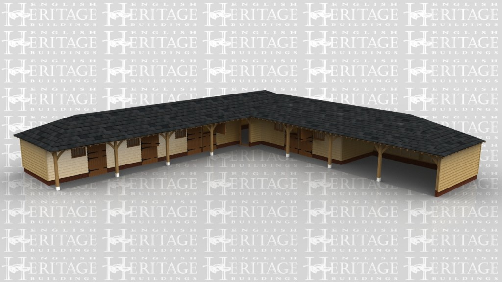 An L-shaped stable complex with 6 loose boxes, one tack room and 2 bays for storing hay and larger equipment.