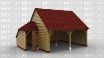 2 bay oak framed open fronted garage with a small tool shed attached to the side.